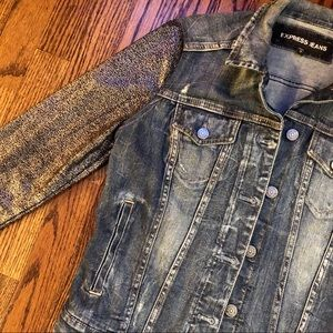 Express Denim Jacket/Metallic Sleeves Sz: S